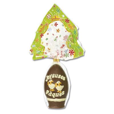 Chocolat oeuf flamme decor oies et joyeuses paques 450 grs (Rohan)