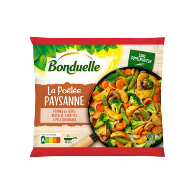 Poêlée paysanne - brocolis, carottes, pommes de terre, pois gourmands (Bonduelle)