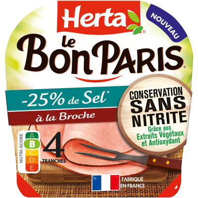 Herta le bon paris jambon sans nitrite broche sel réduit 4t (Herta)