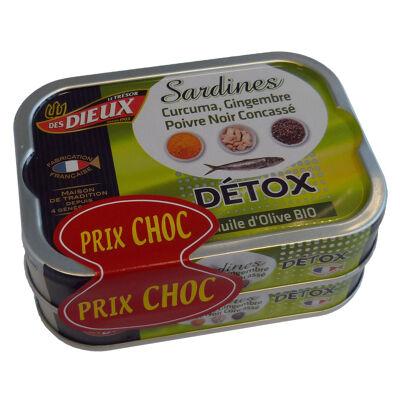 Lot de 2x1/6 sardines à l'huile d'olive bio detox prix choc (Le tresor des dieux)