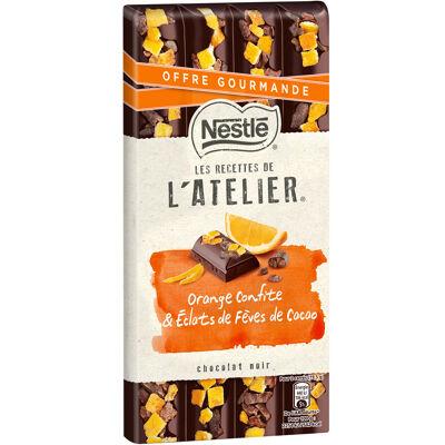 Nestle les recettes de l'atelier chocolat noir orange confite et eclats de fèves de cacao 195g. offre gourmande (Nestle)