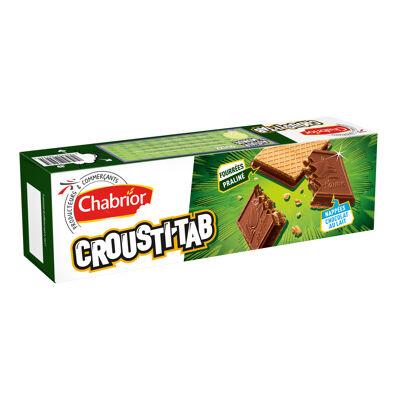Gaufrettes fourrage au praliné (37%), recouvertes d'une tablette de chocolat au lait (47%) (Chabrior)