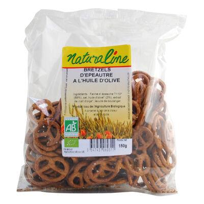 Bretzels d'epeautre a l'huile d'olive bio 150 g (Naturaline)