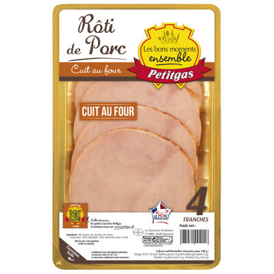 Roti de porc cuit au four 4 tranches 160g (Petitgas)