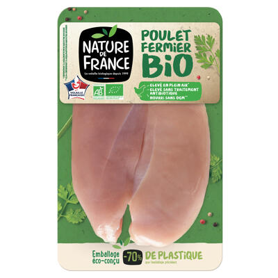 Filet de poulet ferm bio jaune s/skin x 2 nature de france (Nature de france)