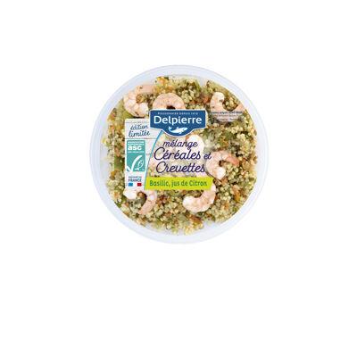 Salade céréales crevettes, basilic, jus de citron (Delpierre)