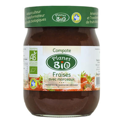 Compote de fraises bio 590g (Planet bio)