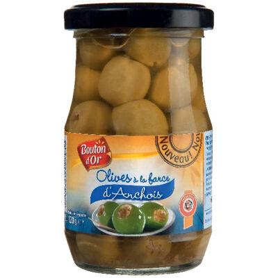 Olives vertes à la farce d'anchois (Bouton d'or)