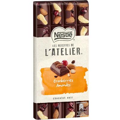 Nestle l'atelier chocolat noir, cranberries, amandes 195g (Les recettes de l'atelier)