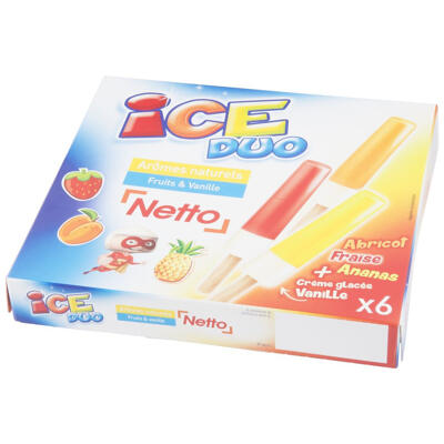 Ice duo - vanille enrobage fraise, abricot, ananas (Netto)