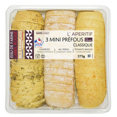 3 mini pains prefou 375 gr (Mix buffet)