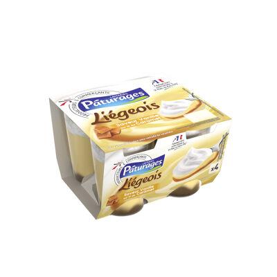 Dessert lacté saveur vanille sur lit au caramel (Paturages)