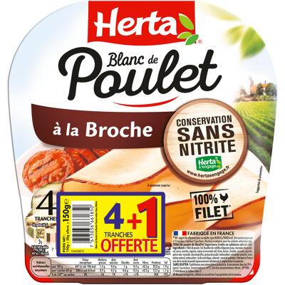 Herta blanc de poulet broche conserv. sans nitrite x4+1t ofr (Herta)