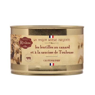 Lentilles au confit de canard et saucisses de toulouse 1580g (Maison riviere)
