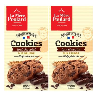 Lot 2 etuis cookies tout chocolat 400g (La mère poulard)