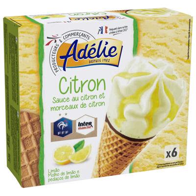 Sorbet citron 73,9% avec préparation de morceaux de citron 3,4%, gaufrette 12,7%, pâte à glacer au cacao maigre 6% et sauce au citron 4% en décor (Adelie)