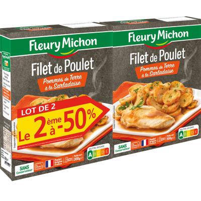 Lot 2 le 2ème à -50% (filet de poulet, pommes de terre à la sarladaise) (Fleury michon)