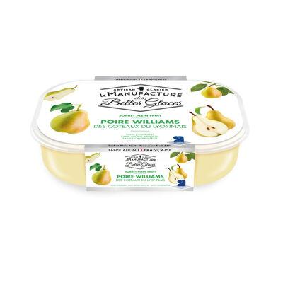 Sorbet plein fruit poire williams des coteaux du lyonnais 750 ml / 487,5g (La manufacture des belles glaces)