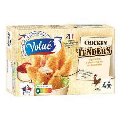 Aiguillettes de poulet aromatisées traitées en salaison (75%), enrobées d'une panure aux pétales de maïs (25%), frites, cuites (Volae)