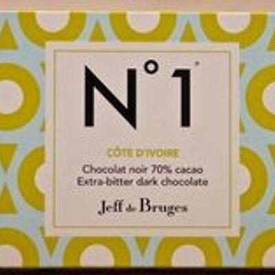 Tablette n°1 côte d'ivoire noir 70% (Jeff de bruges)