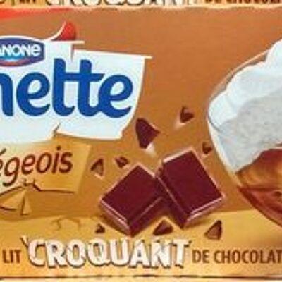 Le liégeois café croquant sur lit de chocolat (Danette)