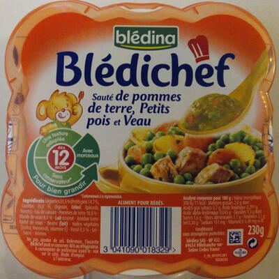 Blédichef sauté de pommes de terre, petits pois et veau (Blédina)