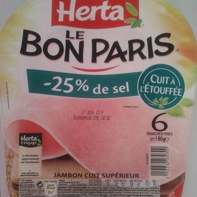 Le bon paris (- 25 % de sel, cuit à l'étouffée) 6 tranches fines (Herta)