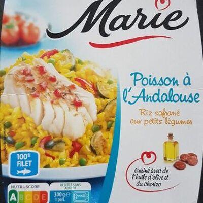 Poisson à l'andalouse, riz safrané aux petits légumes (Marie)
