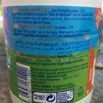 Lait entier 1 litre (Candia)