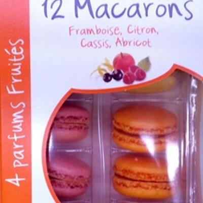 12 macarons framboise, citron, cassis, abricot (Brioche pasquier)