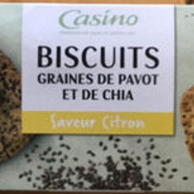 Biscuits graines de pavot et de chia saveur citron (Casino)