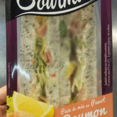 Sandwich le gourmand club - saumon fumé pointe de citron (Sodebo)