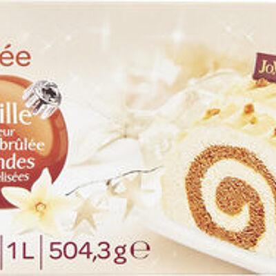 Bûche glacée vanille saveur crème brûlée amandes caramélisées (Carrefour)