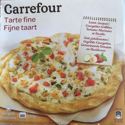 Tarte fine, noix de saint-jacques et courgettes grillées (Carrefour)