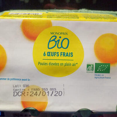 6 oeufs frais bio - poules élevées en plein air (Monoprix bio)