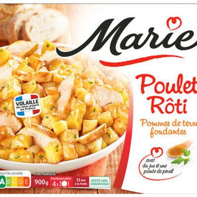Poulet rôti, pomme de terre fondantes (Marie)