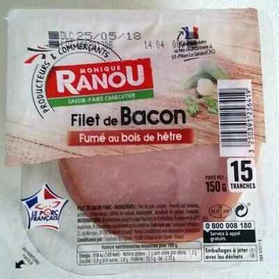 Filet de bacon fumé au bois de hêtre (Monique ranou)