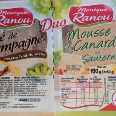 Duo pâté de campagne-mousse de canard au sauternes (Monique ranou)