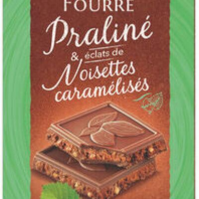 Tablette de chocolat au lait fourré praliné et éclats de noisettes caramélisés (U)