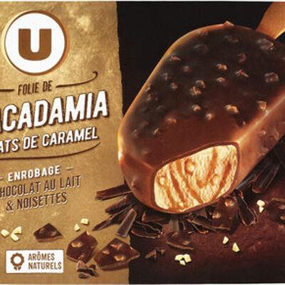 Bâtonnets folie de macadamia et éclats de caramel, enrobage chocolat au lait et noisettes (U)
