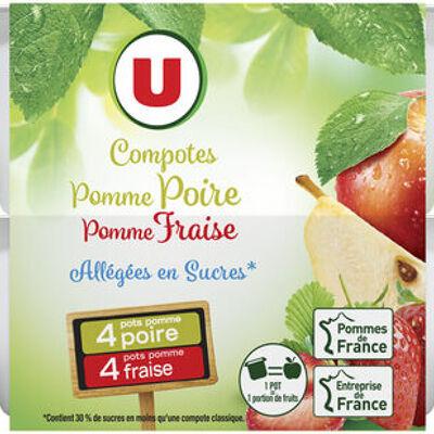 Coupelle allégée dessert de fruits pomme poire et pomme fraise (U)