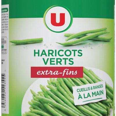 Haricots verts extra-fins cueillis et rangés à la main (U)