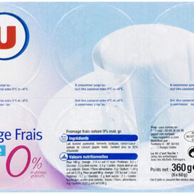 Fromage frais nature 0% de mg (U)