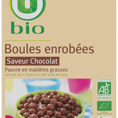 Boules enrobées saveur chocolat (U bio)