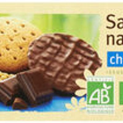 Sablés céréales nappés chocolat au lait (U bio)