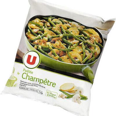 Poêlée champêtre aux légumes, pommes de terre et champignons de paris (U)