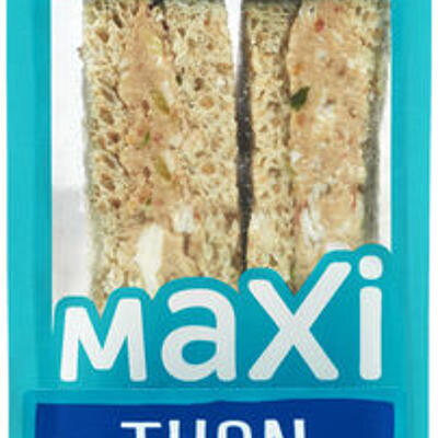 Sandwich au pain de mie complet garni de thon émincé au naturel, de crudités et d'oeuf (U)