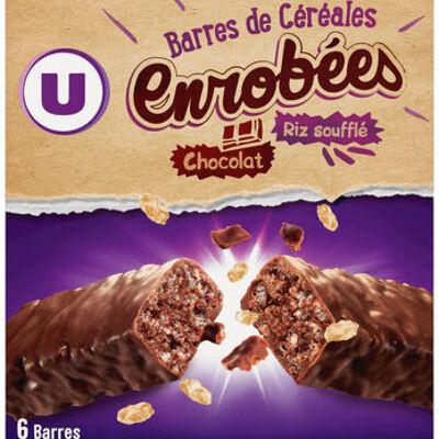 Barres de céréales enrobées de chocolat au riz souflé (U)