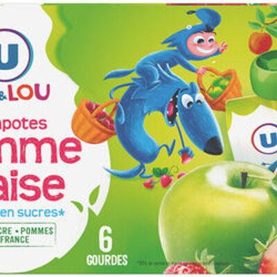 Gourdes allégée en sucres pomme fraise (U mat & lou)