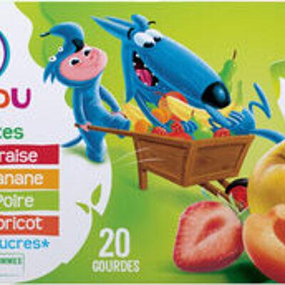 Gourdes allégéees de compote de pomme abricot, poire, fraise, banane (U mat & lou)
